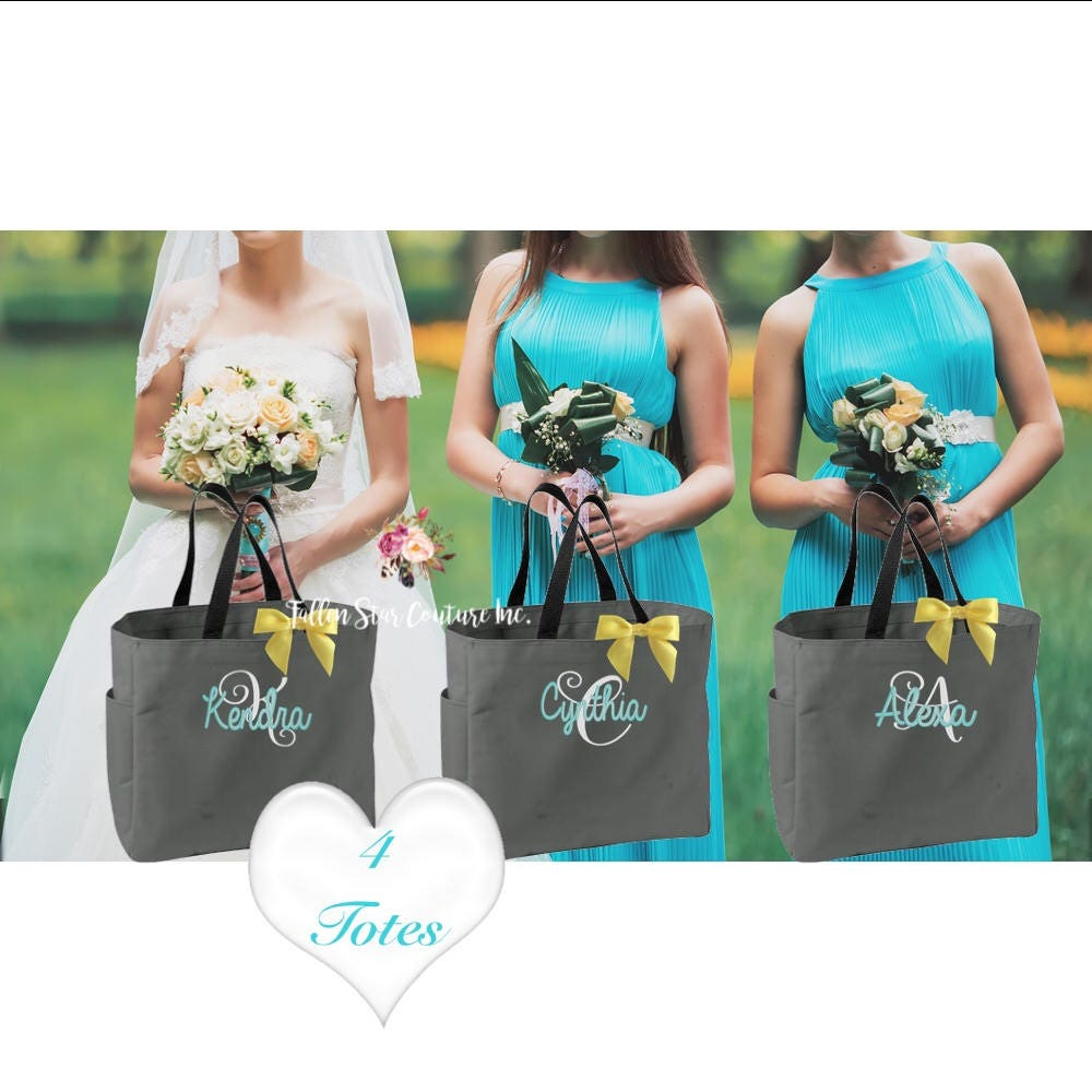 4 personalized bridesmaid bags bridesmaids gift personalized