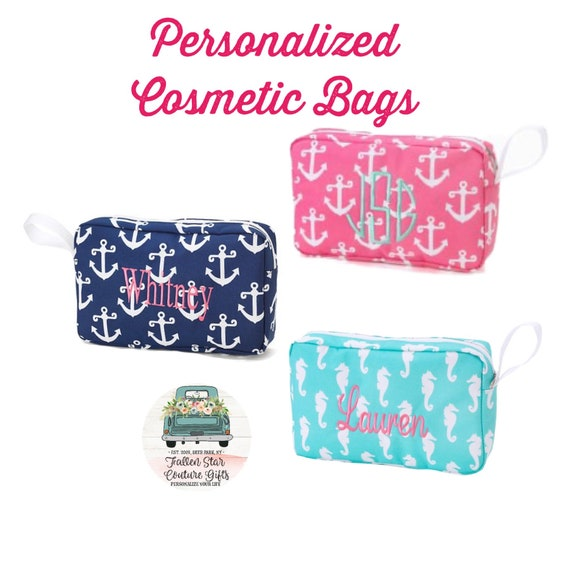 SALE Girls Makeup Bag, Monogrammed Makeup Bag, Girls Cosmetic Bag , Tween Gifts, Gifts for Girls, Teen Christmas Gifts
