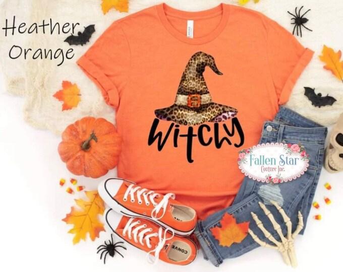 Witchy , Fall Shirt , Halloween Tee , Ladies Witch Shirt , Trick or Treating Shirt , Orange Shirt