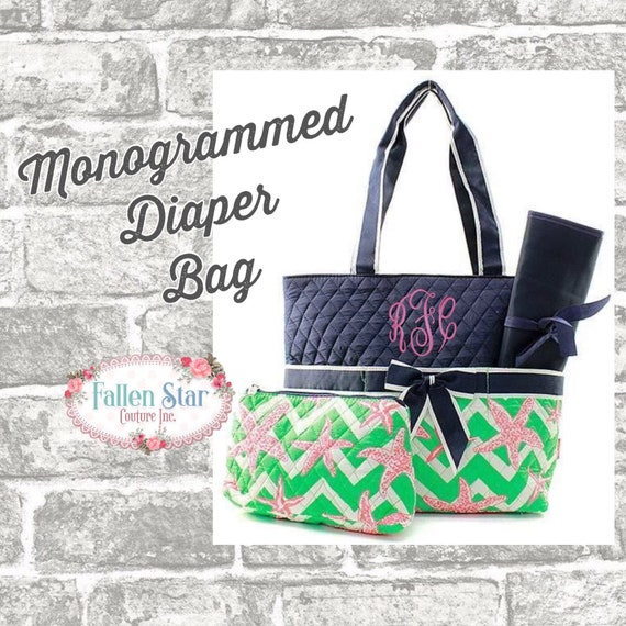 Monogrammed Diaper Bag, Coral and Mint starfish Print Diaper Bag, Mommy's diaper bag monogrammed, Diaper Tote, Tote bag, Quilted Diaper Bag