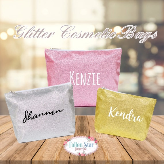 Personalized Cosmetic Bag, Glitter Makeup Bag , Girls Makeup Bag, Teen Cosmetic Case, Girls Bag, Gift for Teen , Gifts for her, Trending