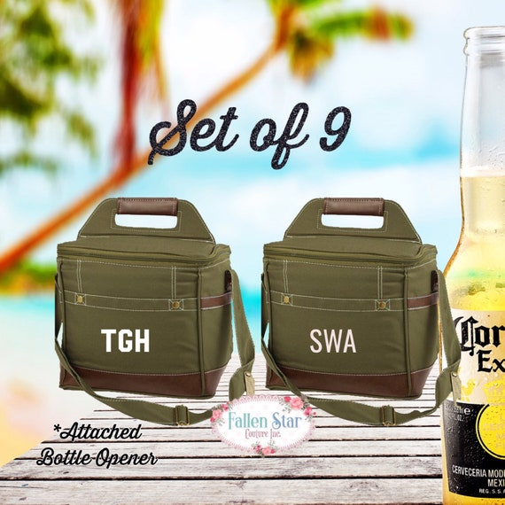 Set of 9 personalized beer coolers, groomsman gifts ,personalized beer cooler, mens monogrammed gifts , unique groomsman gifts