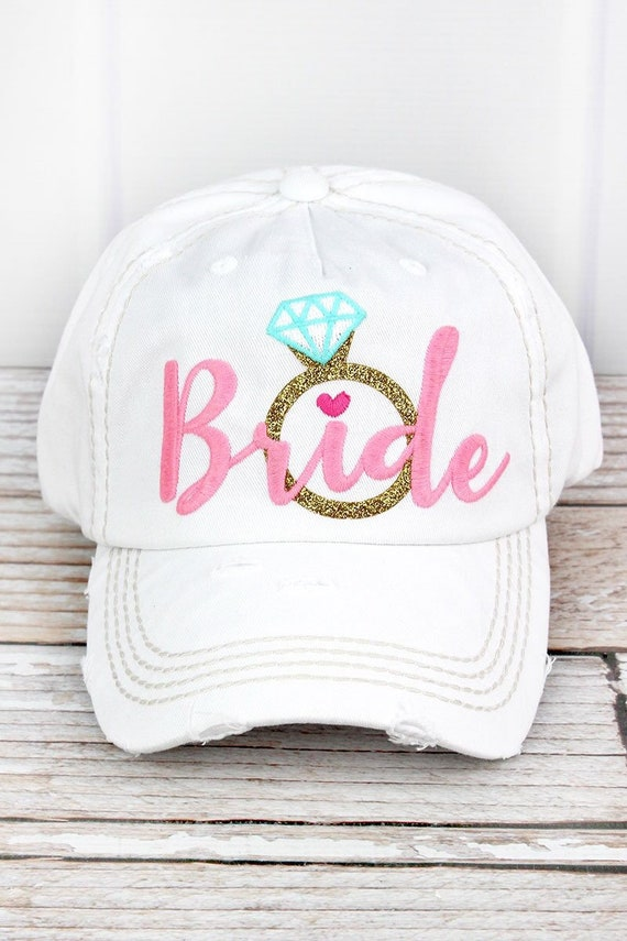 Bride Hat, Engaged Hat, White Bride Hat , Honeymoon Hat, Honeymoon Baseball Hat, Ladies Baseball Hat Bride
