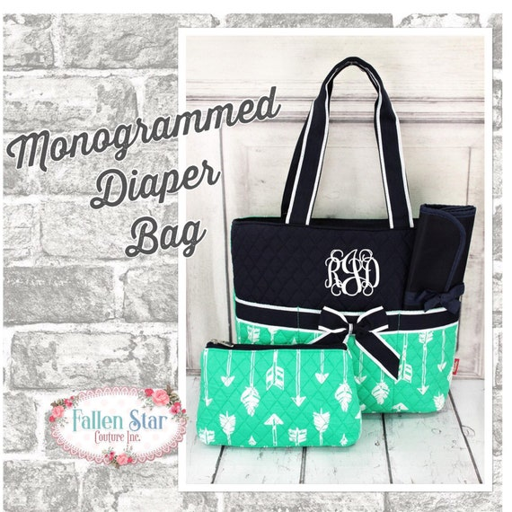 Monogrammed Diaper Bag, Mint and Navy Arrow Print Diaper Bag, Mommy's diaper bag monogrammed, Diaper Tote, Tote bag, Quilted Diaper Bag