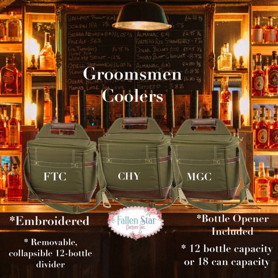Set of 10 personalized beer coolers, groomsman gifts ,personalized beer cooler, mens monogrammed gifts , unique groomsman gifts