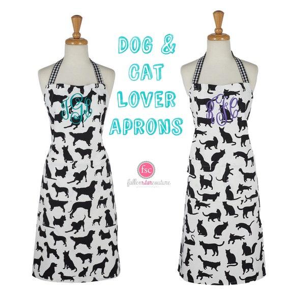 Dog apron, cat apron, pet lover apron, personalized apron, cat print apron, dog print apron, animal lover ap