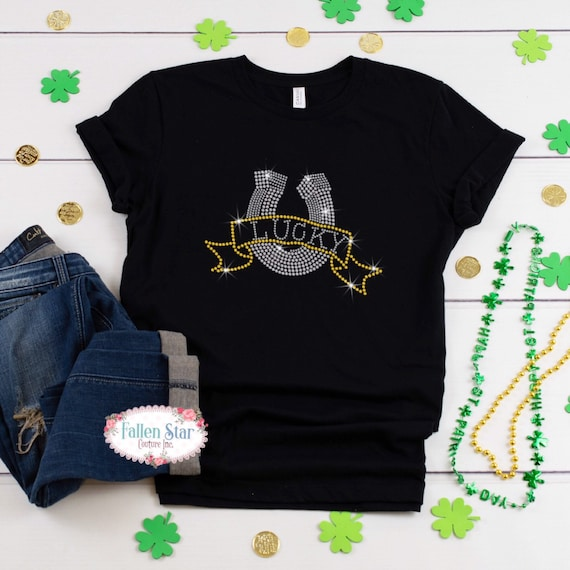 St. Patrick's Day Shirt , Lucky , Womans  St. Patrick's Day Shirt , Rhinestone Bling St. Patrick's Day Shirt