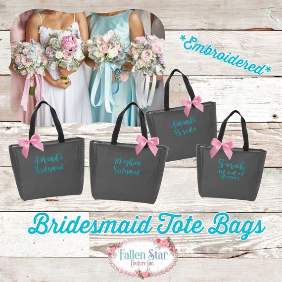 Set of 9 Bridesmaid Tote Bags , Bridesmaid Gifts , Monogrammed Tote Bag, Bachelorette Party Gift, Monogram Gifts Under 15