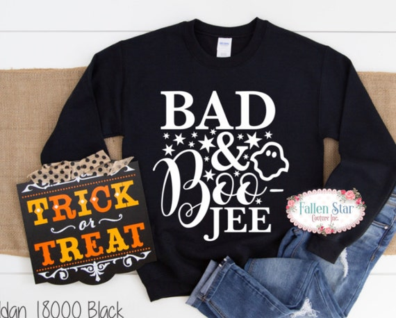 Ladies Halloween T- Shirt , Halloween Shirt , Ladies Halloween Shirt , Womans Halloween Tee , Bad and Boo Jee