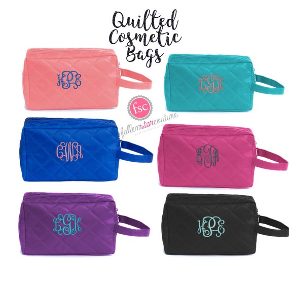 Bridesmaid Make up Bag , Quilted Cosmetic Bag, Bridesmaid Gifts, Personalized Makeup Bags, Bridal Party GIfts