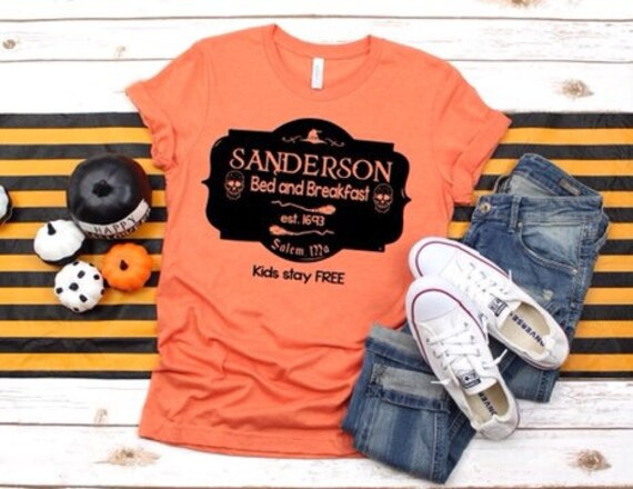 Halloween T-shirt, Halloween shirt, Sanderson shirt, orange Halloween shirt, Sanderson bed-and-breakfast, trick-or-treat shirt