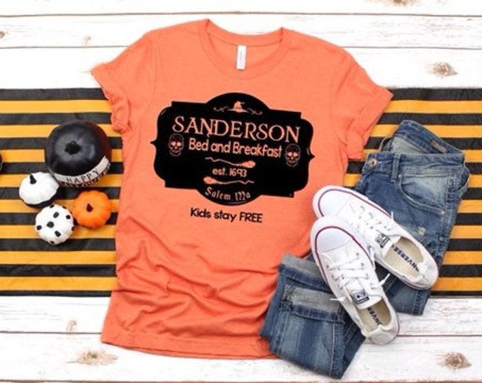 Halloween T-shirt, Halloween shirt, Sanderson shirt, orange Halloween shirt, Sanderson bed-and-breakfast, trick-or-treat shirt