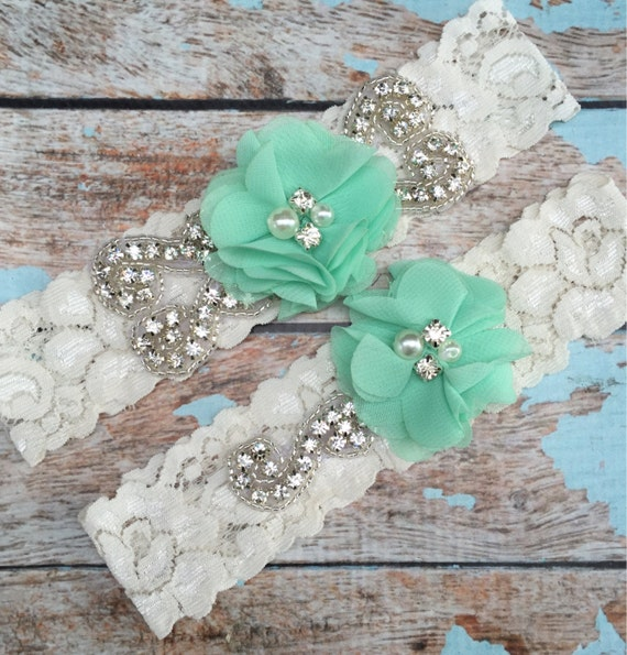 Mint Wedding garter / Lace garter Set / bridal  garter / vintage lace garter / chiffon flower / toss garter / wedding garter