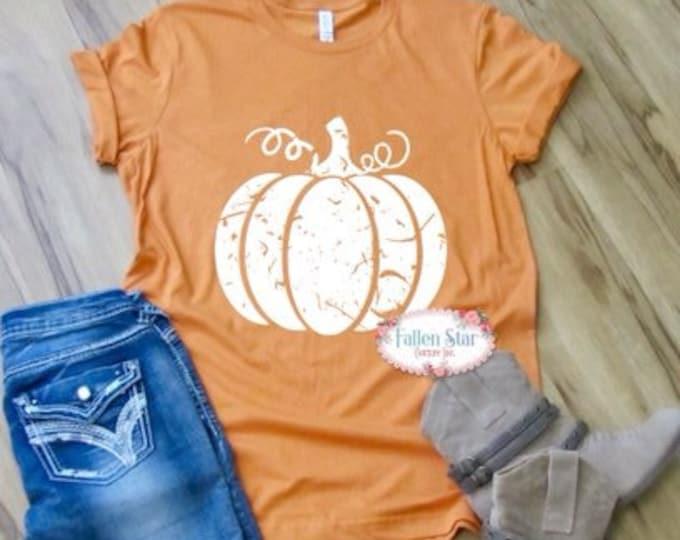 Distressed Pumpkin Tee, Pumpkin Shirt, Halloween T- Shirt, Ladies Pumpkin Tee , Mom Pumpkin Shirt