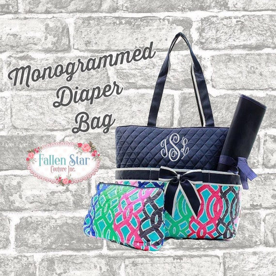 Mommy Diaper Bag, Personalized  Multi Color Vine Print Diaper Bag, diaper bag monogrammed, Diaper Tote, Tote bag, Quilted Diaper Bag