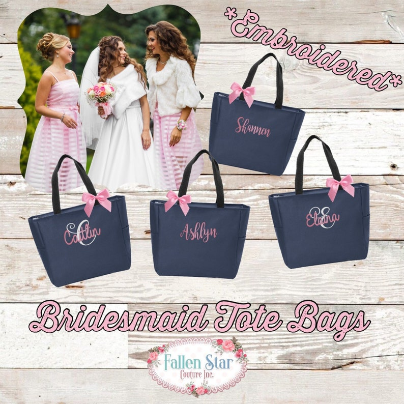 9 Bridesmaid Tote Bags Bridesmaid Gifts Bridal Party Gift Bachelorette Party Gift Wedding Bag Maid Of Honor Flowergirl
