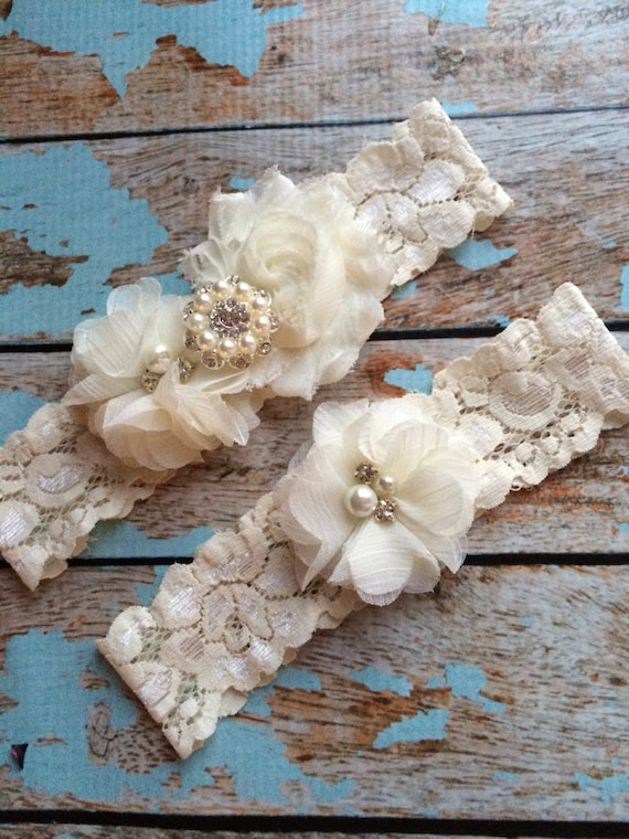 Ivory Wedding Garter Set Bridal Garter Ivory Lace Garter Something Blue Rhinestone Garter Vintage Garter Belt Toss Garter Lace Garter