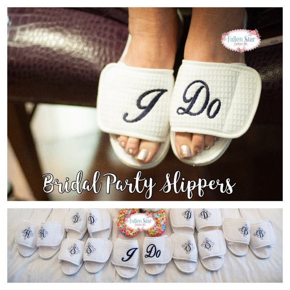 Bridal Party Slippers, Bridesmaid Slippers , Bridesmaid Gifts  , Spa Slippers, Mother Of The Bride Gifts , Wedding Slippers Personalized
