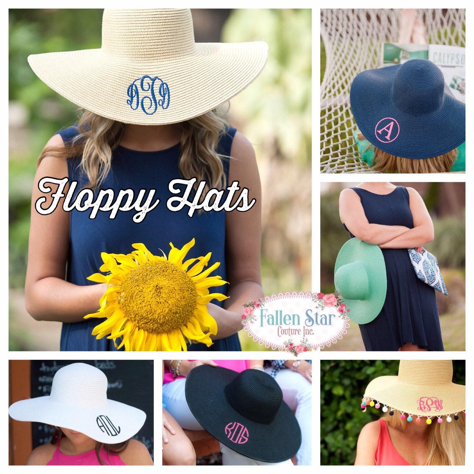 24cacb68 Floppy Hat, Sun Hat, Beach Hat , Straw Hat , Monogram Sun Hat ...