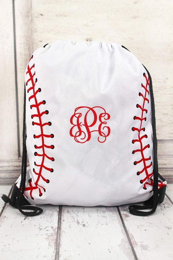 Personalized Baseball Drawstring Bag  , baseball moms tote bag,  baseball cinch bag , monogrammed baseball tote, womans baseball tote