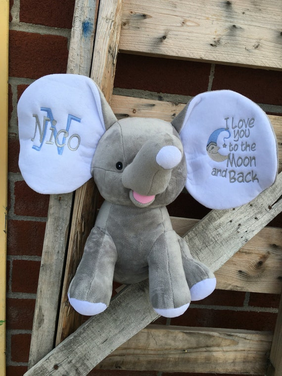 Personalized  baby gift , elephant stuffed animal , birth announcement gift , grey elephant nursery toy , new baby gift