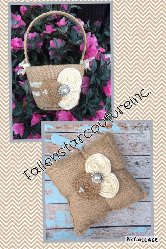 Burlap flower girl basket / ring bearer pillow - burlap pillow , burlap basket