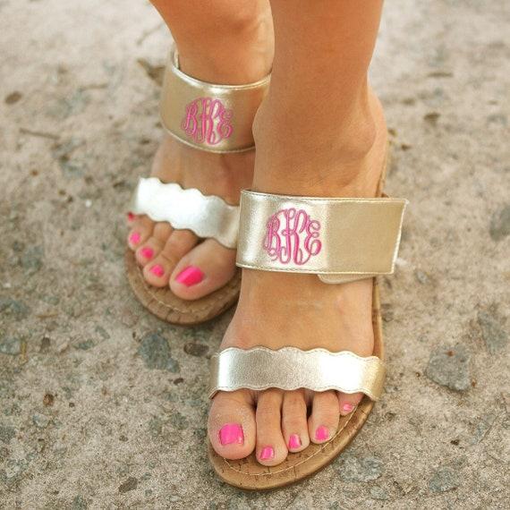 Gold Wedge Sandals , Monogrmamed Sandals , Summer Wedge Sandals , Womans Flip Flops , Ladies Sandals , Wedge Sandals