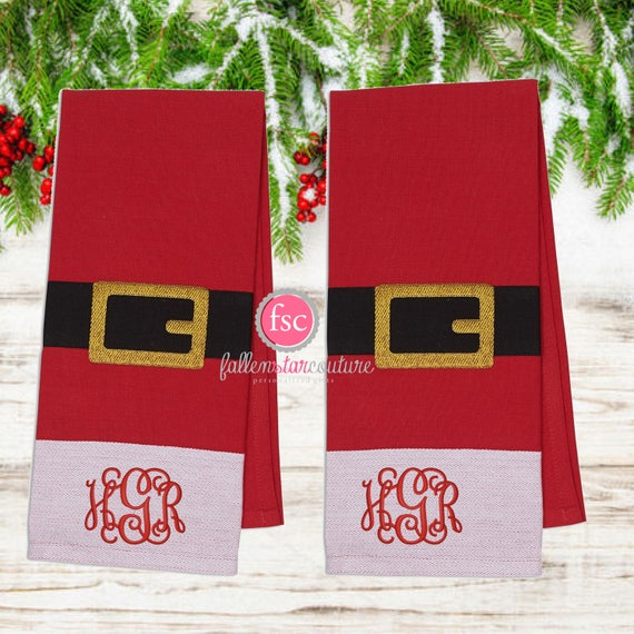 Christmas hand towel , personalized Christmas towel , monogrammed dish towel, kitchen towel , Christmas towel, santa dish towels, host gift