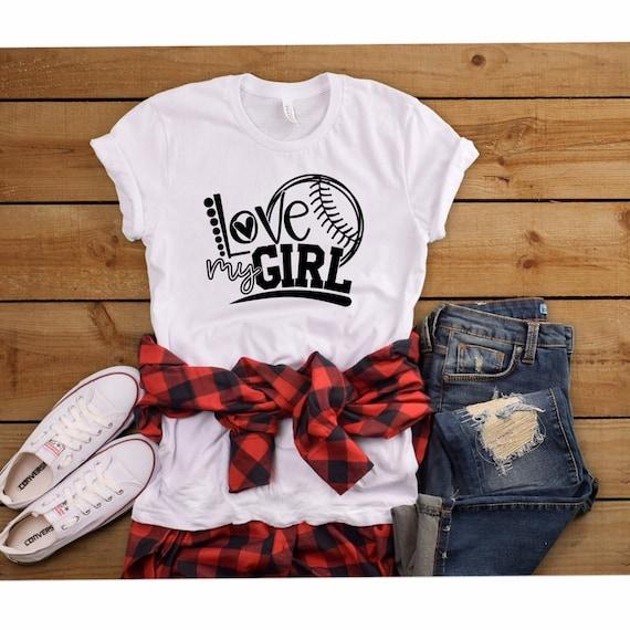 Softball mom shirt, Softball mom tank , gifts for softball mom, thats my girl , softball T-shirt LOVE My GIrl