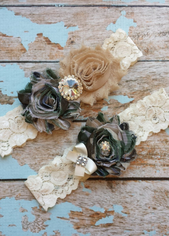 Camo Wedding Garter Set Bridal Garter Ivory Lace Garter Something Blue Rhinestone Garter Vintage Garter Belt Toss Garter Lace Garter