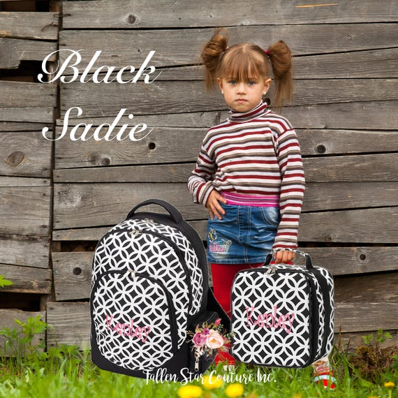 GIRLS personalized backpack , Back To School , kids backpack , lunch box, BLACK SADIE, monogrammed backpack