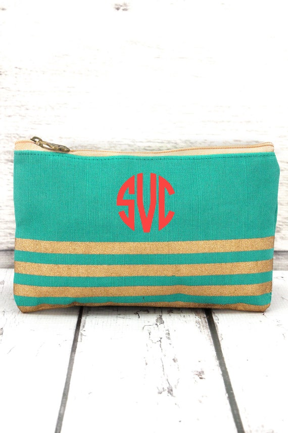 mint and gold striped jute cosmetic bag, personalized makeup bag, monogrammed cosmetic bag, bridesmaid bag,