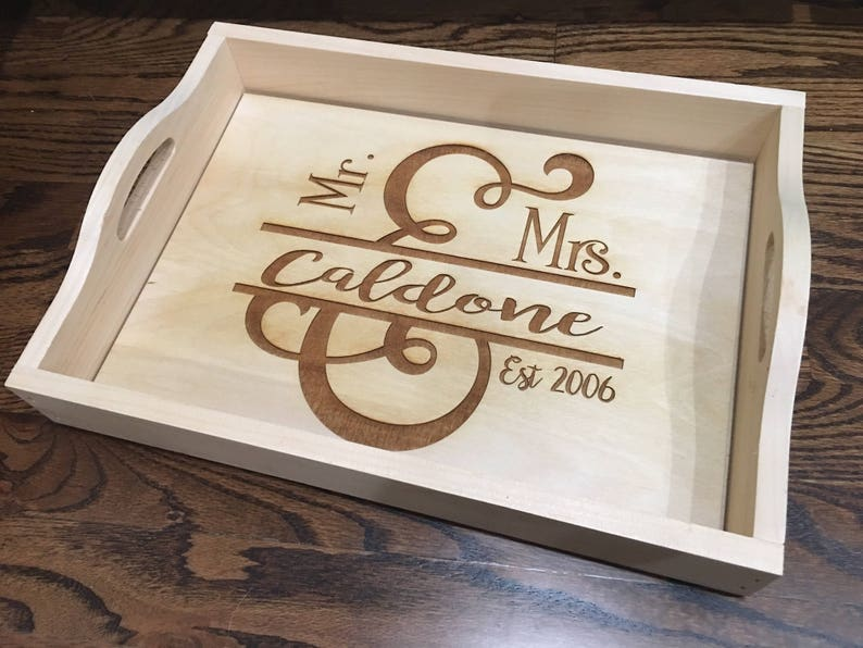 personalized wood serving tray new couple gift housewarming gift bridal shower gift