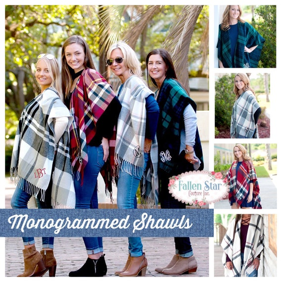 Monogrammed Shawl , Personalized Scarf , Gifts For Her, personalized Blanket Scarf , College Sorority Gifts , Plaid Scarf