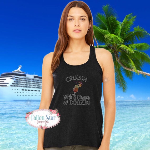 Cruise shirt, cruise tank top , ladies vacation shirt,  family vacation shirts, rhinestone bling shirt, cruisin and boosin