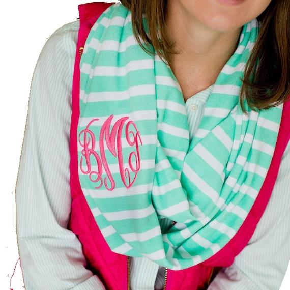 Monogrammed infinity scarf , aqua stripe scarf , personalized scarf , infinity scarf , monogram scarf
