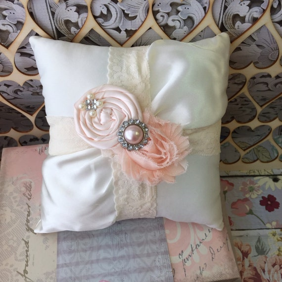 Blush pink ring bearer pillow / rustic wedding pillow  / blush wedding/ ring pillow / ring bearer