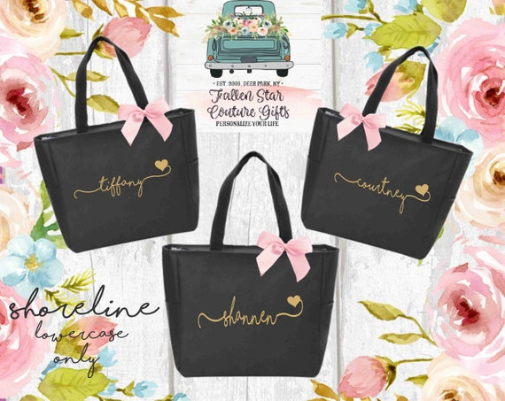 Bridesmaid Tote Bags, Personalized Bridesmaid Bags, Bridal Party Gifts , Monogrammed Tote , Bachelorette Party Bags , Girls Weekend Gifts
