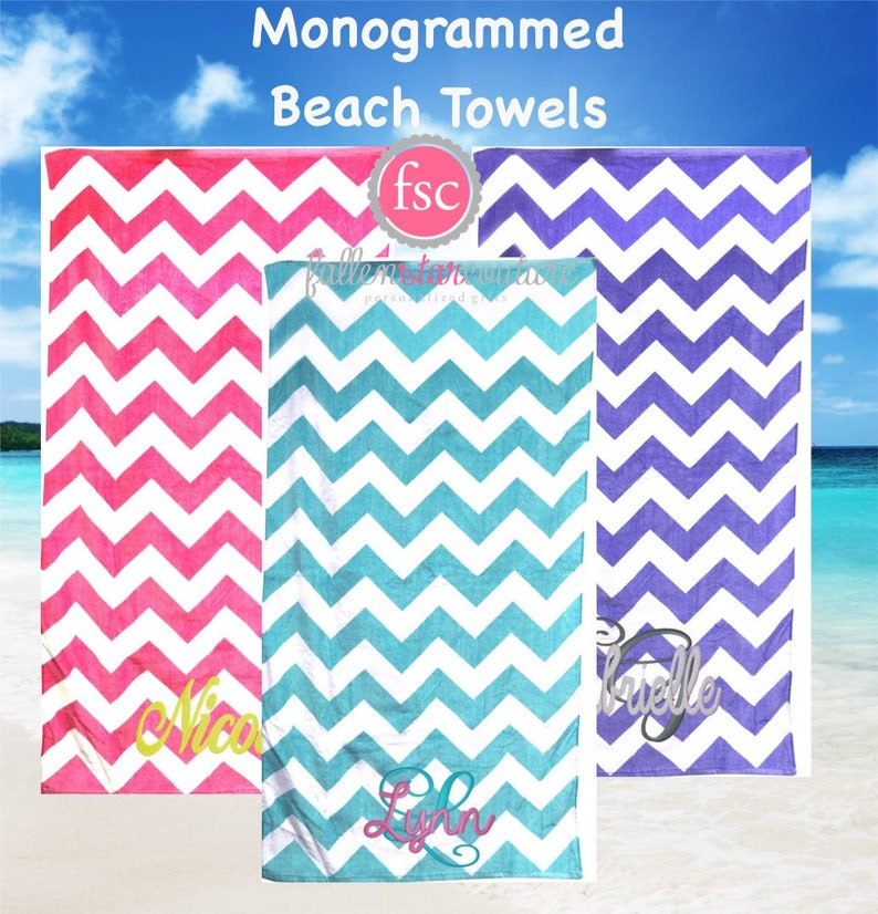 Monogrammed Chevron Beach Towels Personalized Beach Towels Bridesmaid Beach Towels Kids Beach Towels Summer Camp Towels