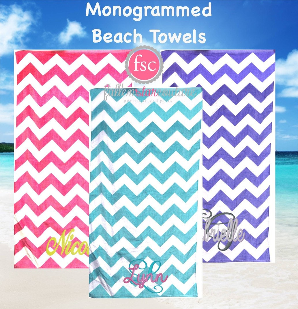 monogrammed chevron beach towels personalized beach towels