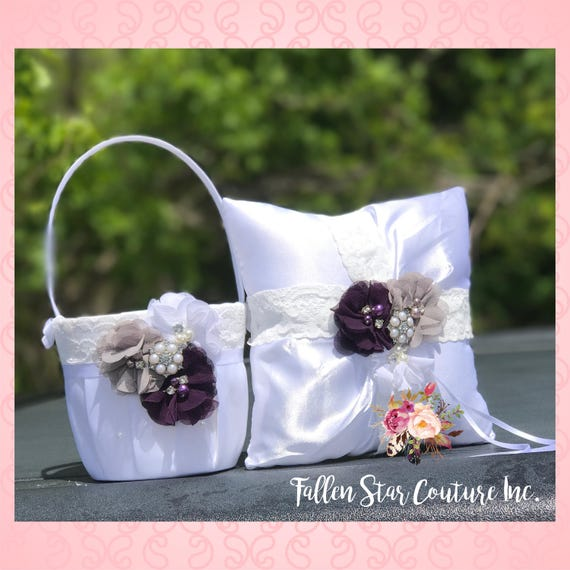 Ring Pillow ans Flower Girl Basket Set , Plum flower girl basket set , Ivory Fower Girl Basket Set , Design Your Own