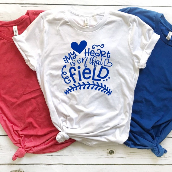 My heart is on that field, baseball shirt, baseball tank top, baseball mom shirt, baseball mom gifts, Little League mom, travel ball mom