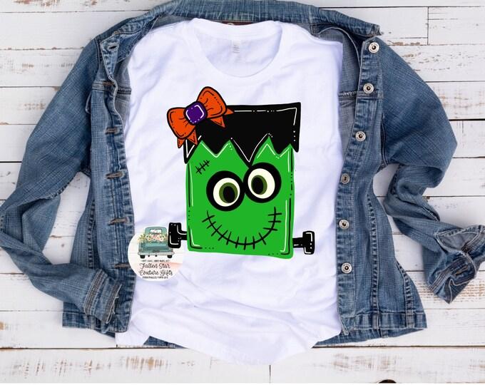 Halloween Tee, Frankenstein Shirt, Ladies Halloween Tee, Trick or Treat, Girls Frankie Shirt, Frankenstein Cute Shirt