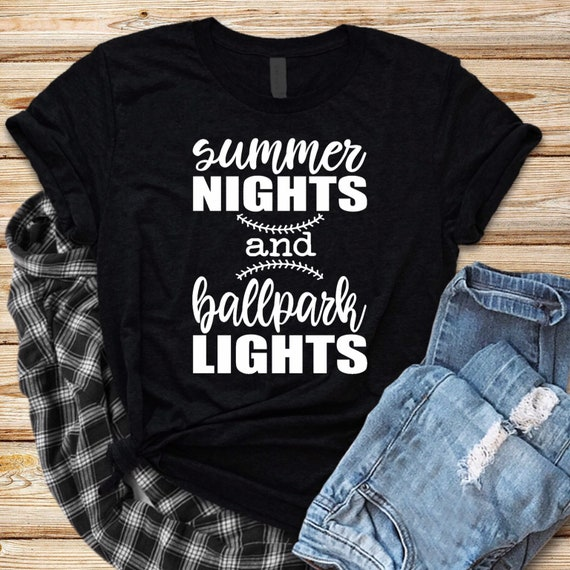 Summer nights and ball park lights, baseball mom shirt, baseball mom tank top, gifts for baseball mom, travel baseball, Little League