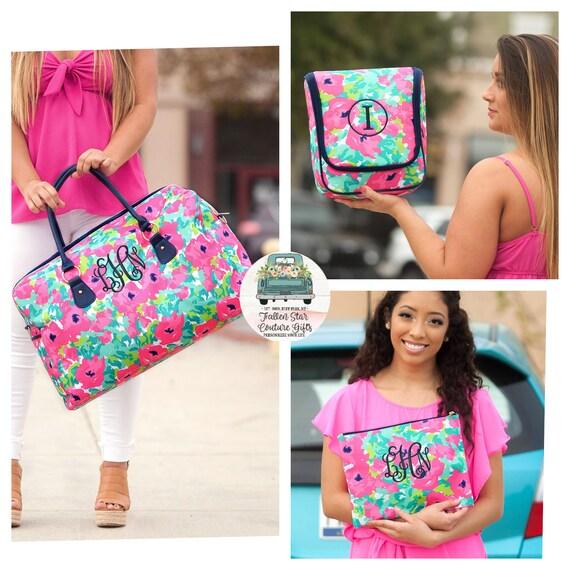 Ladies 3 piece Travel set , Ladies Luggage, Girls Weekender , Cosmetic Bag,  Girls Toiletry Bag