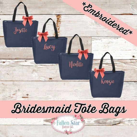 Set Of 4 Bridesmaid Tote Bags, Bridesmaid Gifts, Bachelorette Party Gifts, Monogrammed Tote Bag , Gifts Under 10 , Embroidered Tote Bag