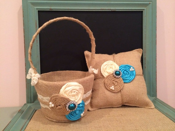 Burlap flower girl basket / ring bearer pillow - burlap pillow , burlap basket ( burlap,  turquoise and ivory )