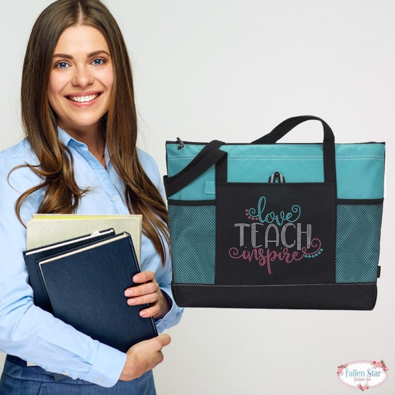 Teacher Gifts, End Of Year Gifts, Teacher Book Bag , Teacher Assistant Tote, Bling Rhinestone Tote,Teach Love Inspire , Teacher Tote Bag,