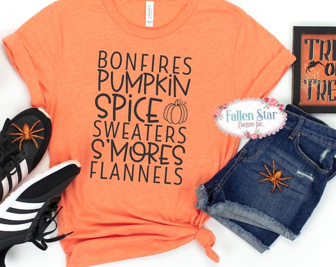 Bonfires Flannels S'mores Sweaters And Pumpkins, Autumn Shirt, Fall Shirts, Thanksgiving, Women's Graphic Tee