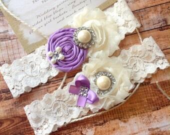 Wedding garter SET /GRAPE / Design your own  / wedding garters/ bridal  garter/  lace garter / toss garter / vintage lace garter